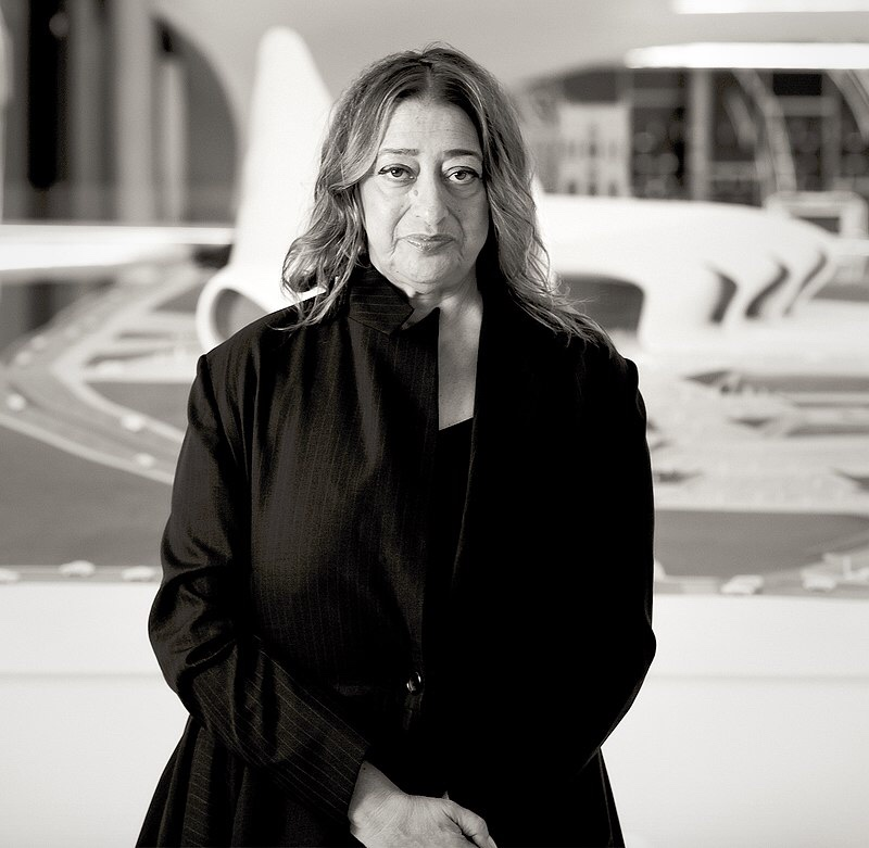 Zaha Hadid in Heydar Aliyev Cultural center in Baku nov 2013